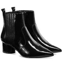 patent leather studded ankle boots