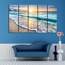 online sunset beach print split canvas wall art paintings on beach framed canvas wall art with colormix 5pcs 12 31 inch no frame sunset beach print split canvas