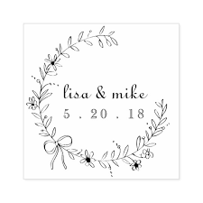 Wedding Name Floral And Bow Wreath Custom Couple Names Wedding Rubber Stamp
