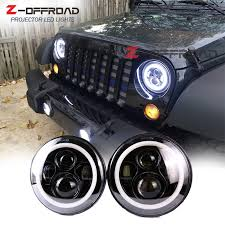 for jeep wrangler unlimited jk 4 door offroad hi lo beam 7 led angle eyes headlight replacement with white halo ring 2 pcs in car light embly from