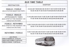 below is given a time table for transportation to and from fodele please ask the reception exactly where on the highway you have to stand