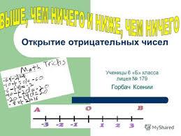 Презентация на тему Из истории возникновения отрицательных чисел  Открытие отрицательных чисел Ученицы 6 Б класса лицея 179 Горбач Ксении
