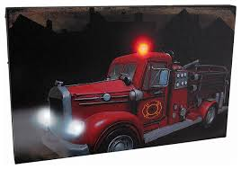 vintage fire truck led lighted canvas wall hanging
