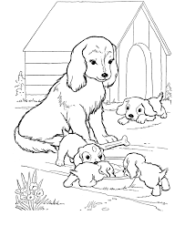 Small Picture Mother dog watches her puppies Dog Coloring page source