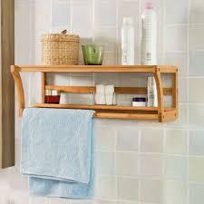 bamboo wooden wall mounted bathroom towel rail holder shelf unit