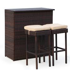 3 piece patio bar set. Contemporary Set Guilderland 3 Piece Wicker Patio Bar Set Throughout