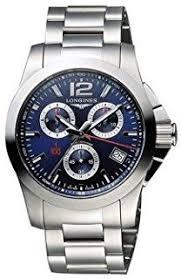 longines men s steel bracelet case automatic blue dial analog longines l37004966 conquest chronograph mens watch blue dial stainless steel case quartz movement