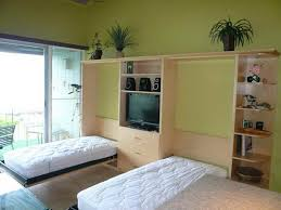 image of twin size murphy bed is perfect for minimalist houses with green wall