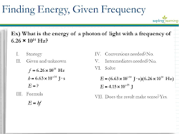 finding energy given frequency ex what is the energy of a photon of light