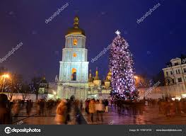 Bell Tower Tree Lighting Kyiv Ukraine December 28 The Group Of People And The