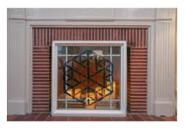 glass fireplace screen. Place The Fireplace Screen Inside Fireplace, And Add Candles Glass