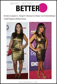 who wore it better 1022 evelyn lozada vs taraji p henson in diane von furstenberg s gold peplum delian dress