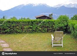 lounge mountain view garden stock photo