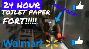 hour overnight challenge in walmart ⏰insane toilet paper fort  24 hour overnight challenge in walmart ⏰insane toilet paper fort kicked out 😳