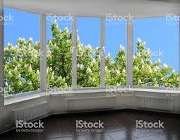 Moderne Fenster Mit Blick Auf Die Blühenden Kastanie Stockfoto Und