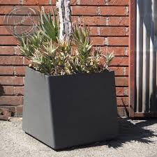 contemporary square large  gal twist cube outdoor planter  stardust