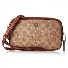 Coach Brown Colorblock Coated Canvas Signature Crossbody Clutch