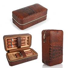 get ations te travel leather cigar humidor case cedar wood lined with humidifier and removable trays