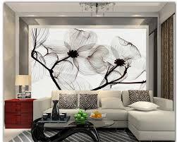 Beibehang 3d Behang Handgeschilderde Bloemen Zwart En Wit Paars