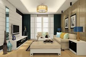 Modern Living Room With Round Ceiling Light Interior Design