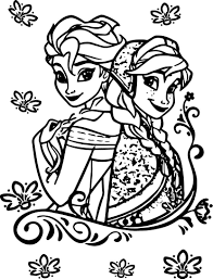 Ana And Elsa Coloring Page Anna And Elsa Playing Together Coloring ...