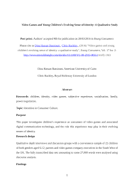 Pdf Video Games And Young Childrens Evolving Sense Of Identity A