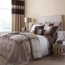 embroided quilted damask duvet quilt cover set curtains chocolate beige