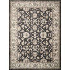 persian crown charcoal ivory 9 ft x 13 ft area rug