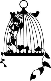 白黒のツタの絡みついた鳥カゴの無料イラスト41778 素材good