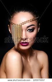 high fashion look glamor closeup portrait of beautiful y caucasian young woman model with colorful