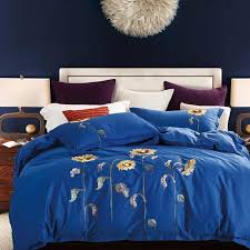textile quality nordic luxury bedding sets dark blue sunflower 100 cotton bed linen duvet cover sheet pillowcases yellow bedding teen girl bedding from