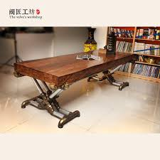 retro industrial furniture. American Retro Industrial Wood Old Wrought Iron Tables Vintage Pine Desk Table Office Boss Furniture I