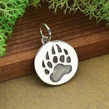 a4041 sv chrm sterling silver bear claw charm etched on a disk
