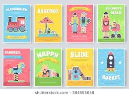 kids playground field brochure cards set staff equipment template of flyear magazine poster