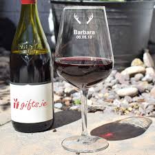 antlers personalised wine gl