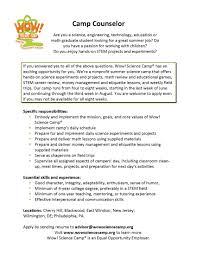 Nice Resume Camp Counselor Description Images Entry Level Resume