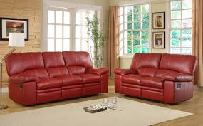 Leather Reclining Living Room Sets Homelegance Kendrick Reclining Sofa Set Red Bonded Leather
