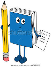 cartoon ilration of a book holding pencil and paper