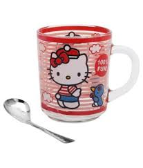r p pooja ghar red glass coffee mug with spoon