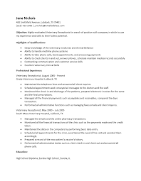 Veterinary Receptionist Resume Endearing Sample Resume For