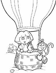 Kleurennu Dora En Boots In De Luchtballon Kleurplaten