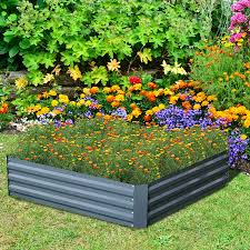 outsunny 26 x 26 x 12 galvanized metal raised garden bed kit set of 2 grey