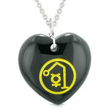 bestamulets archangel raphael sigil magic amulet planet energy puffy heart black agate pendant 22 inch necklace com