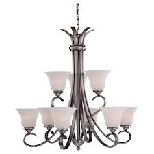 sea gull lighting rialto collection 9 light antique nickel chandelier