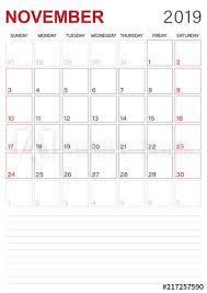 English Calendar November 2019 Monthly Planner Calendar