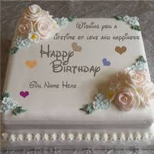 Print Name On Happy Birthday Cake With White Roses For Girls