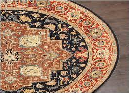 vintage persian heriz serapi navy wool round rug 25012