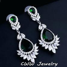 emerald chandelier earrings long chandelier earrings wedding souvenir jewelry long drop crystal emerald green bridal wedding