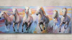 white horses running original painting by j o art studio cologne you