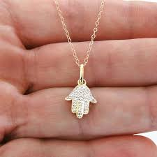 14k solid gold and diamond hamsa hand necklace for protection yellow gold